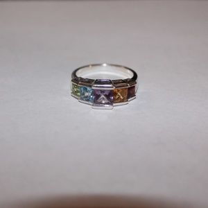 Sterling silver ring multi-colored stones sz.9